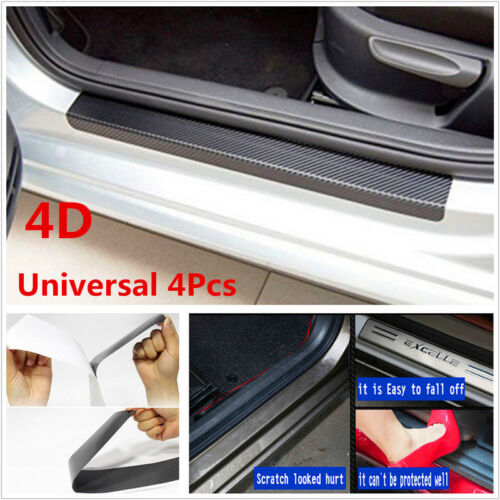 4D Carbon Fiber Anti Scratch Look Car Door Pedal Tail Lip Protector Stickers 5PC