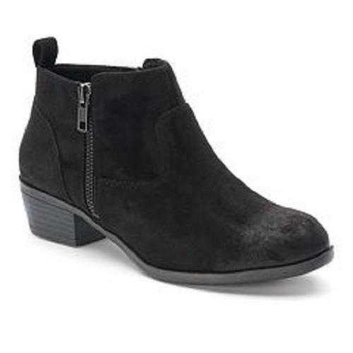 Women's S.O. LODGE Black Ultrasuede Western Dress Casual Ankle Boots/Booties NEW