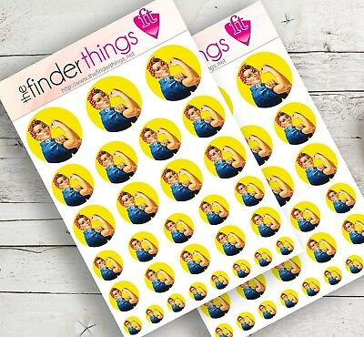 Rosie the Riveter Stickers Scrapbook Planner Crafts Diary WWII Girl Power Precut