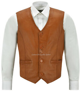 Fashion Elegante Vest Gilet uomo pelle 5226 Party Napa Tan da in rBYq0zYwA