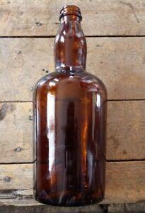 Vintage-Decorative-Deep-Amber-Empty-Glass-Bottle-525-g