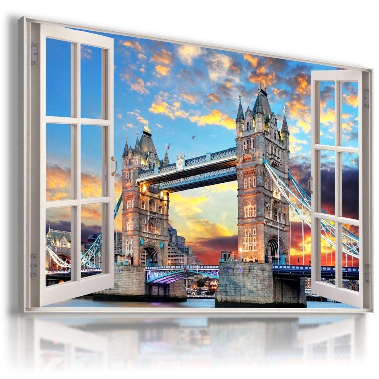 Londra Tower Bridge TAMIGI 3D finestra Vedi foto su tela Wall Art W620 mataga