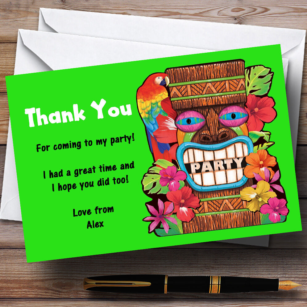 Grün Tropical Luau Hawaiian Personalised Party Thank You Cards
