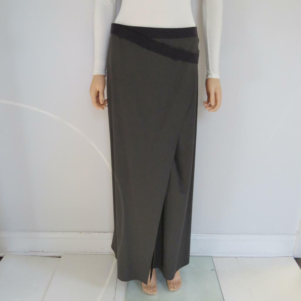 Brunello Cucinelli Olive Green Heather Grey Wrap Strap Maxi Skirt Size 42