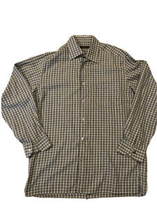 Ermenegildo-Zegna-Men-s-Long-Sleeve-Shirt-Size-L-Gray-Plaid-Casual-Button-Italy