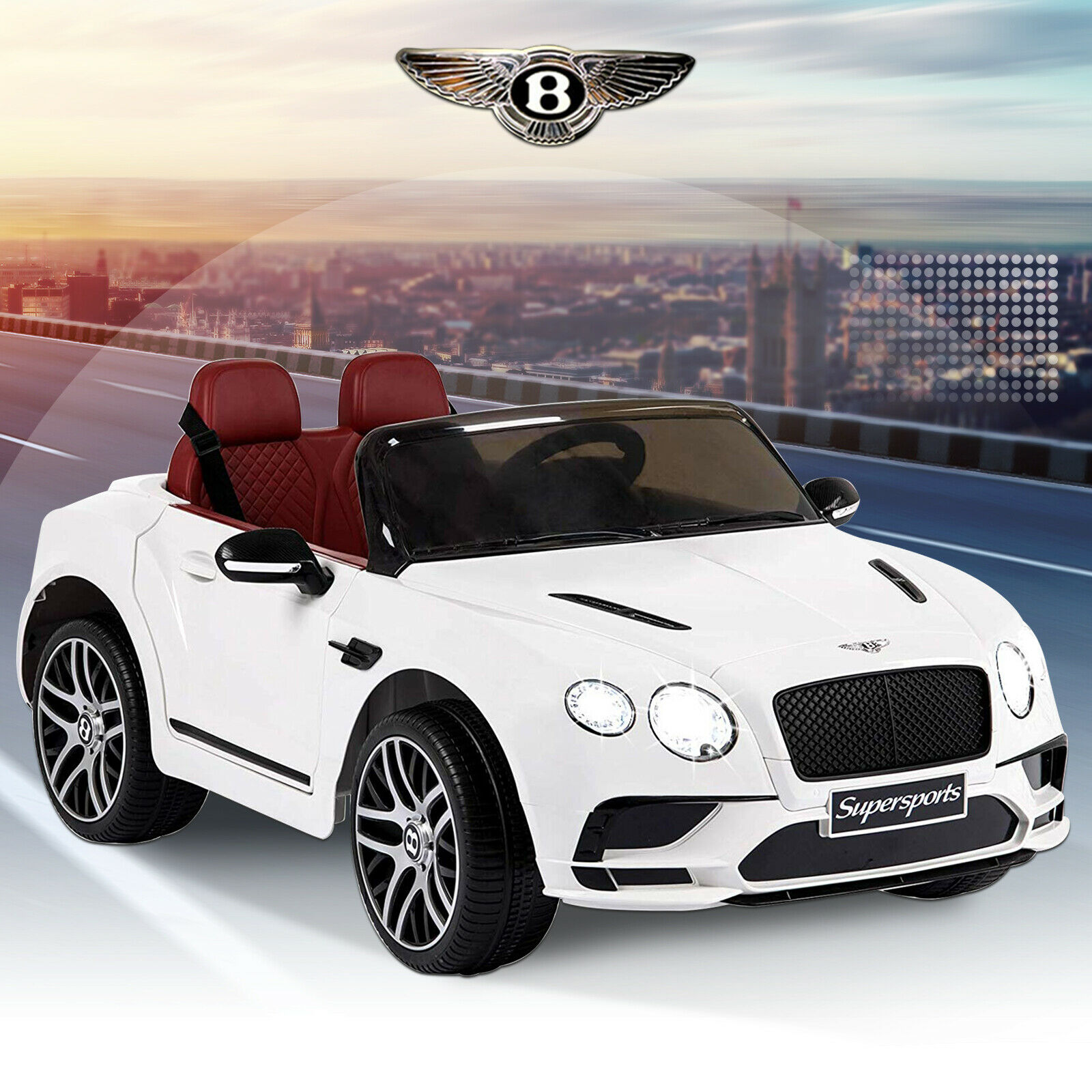 12V Bentley Power Electric Kid's Ride on Car 3 Speed W  Remote Control MP3 White
