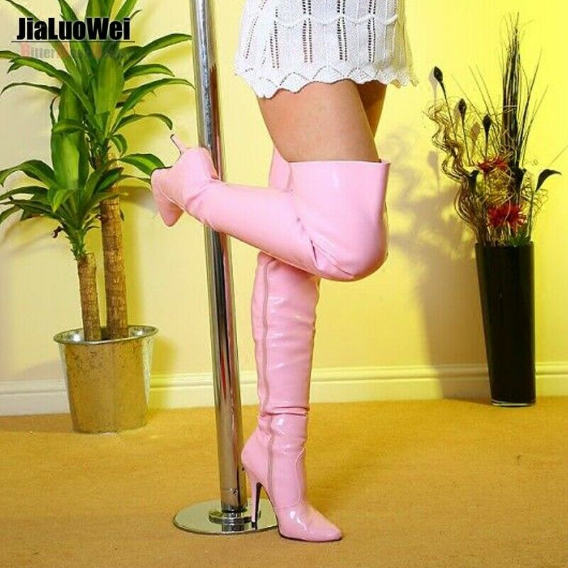 12 CM High Heels Womens Dance Over Knee High Boots Nightclub Pointy Toe Stiletto