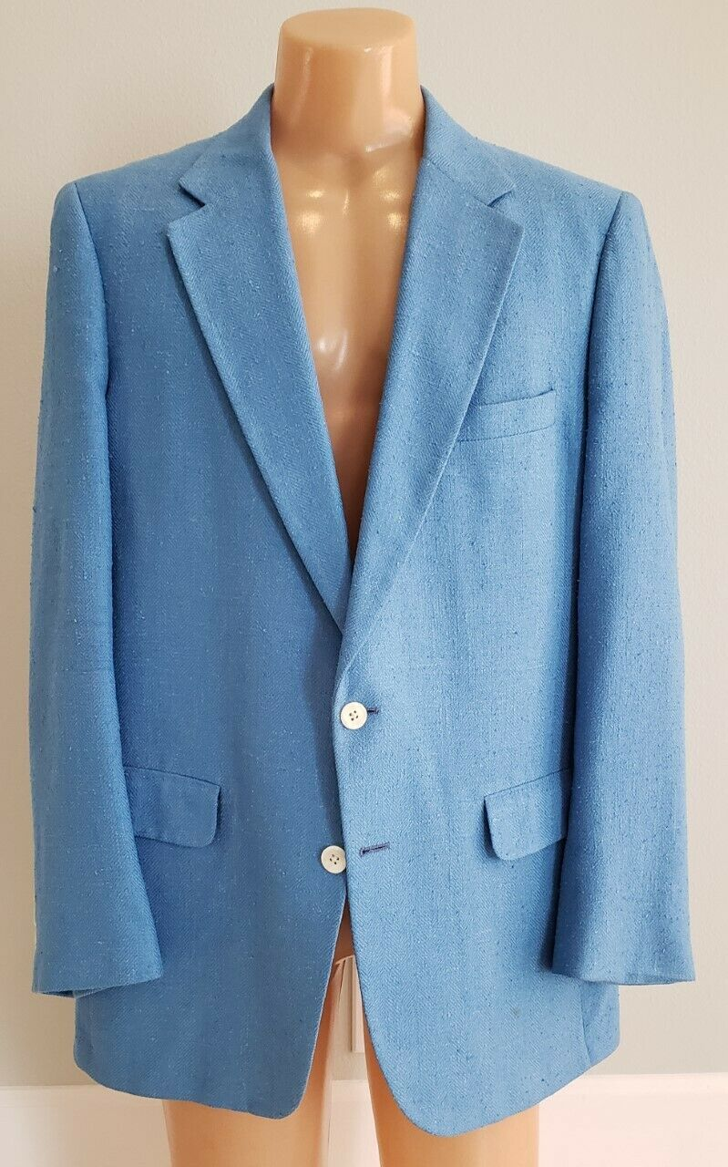 Men's royal bluee silk herringbone blazer sport coat 43L