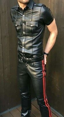 Mens Hot Genuine Real Black Sheep Leather Police Uniform Shirt BLUF Gay
