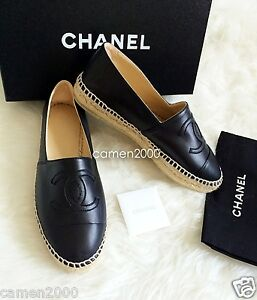 b52c6beb935 Details about NIB CHANEL Black Leather Espadrilles CC Logo Cap Toe Flats  Shoes 36 37 38 39 40
