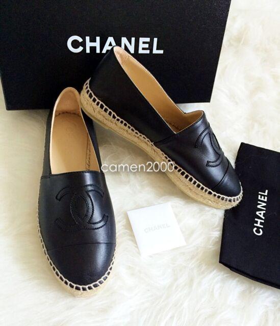b6a412da5ca NIB CHANEL 14 Leather Cap Toe CC Logo Espadrilles Flats Shoes Black Size  40 10