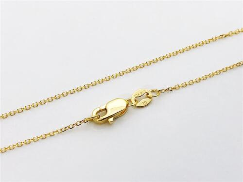 """10K 18/"""" Inches .8mm Solid Yellow Gold Cable Link Pendant Chain Necklace"""