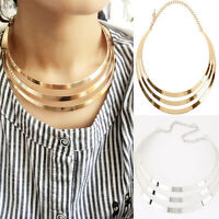Women Gold plated Metal Choker Chunky Bib Statement Chain Necklace Punk Style