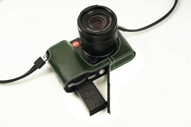Genuine Real Leather Half Camera Case Bag Cover for Leica TL TL2 Typ 701 L Green
