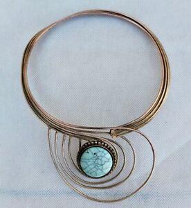 Rare très ancienne viking bronze collier pierre turquoise authentique Artefact