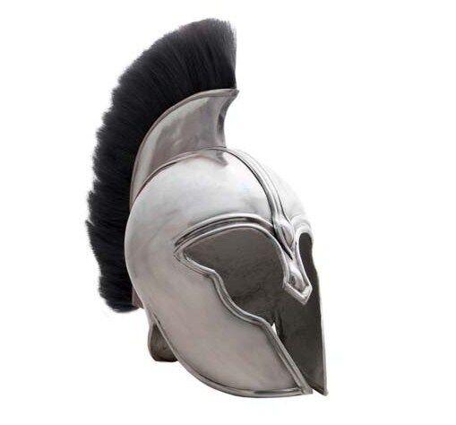 Greek Trojan Spartan Achilles Helmet with Horse Hair Plume, Chin Strap & Padding