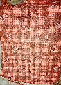 Vintage Japanese woodblock print on paper of complex orange & white design