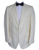 100% Wool Cream Tuxedo Jacket 38 Regular