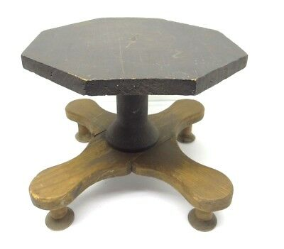 1900-1950 Strict Antique Old Primitive Wood Wooden Painted Black Top Spool Foot Footstool Stool To Assure Years Of Trouble-Free Service