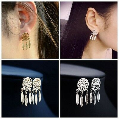 Pair Mini Alloy Jewelry Dream Catcher Ear Studs Tassel Feather Earrings