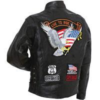 Black Genuine Leather Diamond Plate Motorcycle Jacket Biker Cruiser Coat Mens