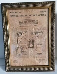 Cadre décoration vintage dépôt de brevet BRIQUET ZIPPO