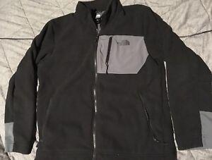 Mens-The-North-Face-Black-Gray-Fleece-Jacket-L-Full-Zip-Polo-Sport-Marmot-Denali