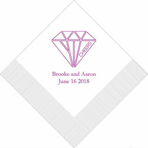 500 Cheers Geometric Diamond Personalized Wedding Luncheon Napkins