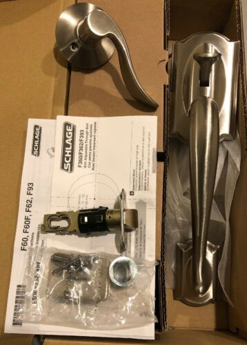 SCHLAGE Camelot Accent Lever SATIN NICKEL Right Hand Entrance Handle