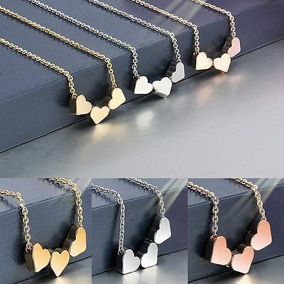 Stainless Steel Necklaces Three Love Hearts For Women Charm Jewelry Gift