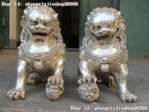 Chinese Tibet silver carved guard Foo Dogs Lion male statues