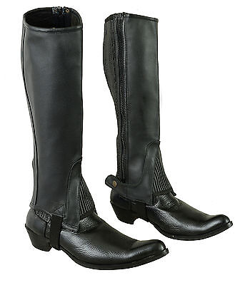 HORSE RIDING ADULTS HALF CHAPS BLACK WITH FULL GRAIN COWHIDE LEATHER-ALL SIZES
