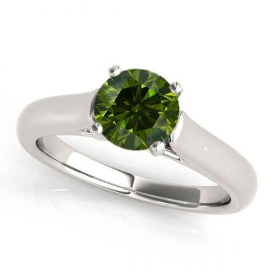 0.35 Ct Green Diamond SI2 Solitaire Wedding Ring Stunning Deal 14k White gold