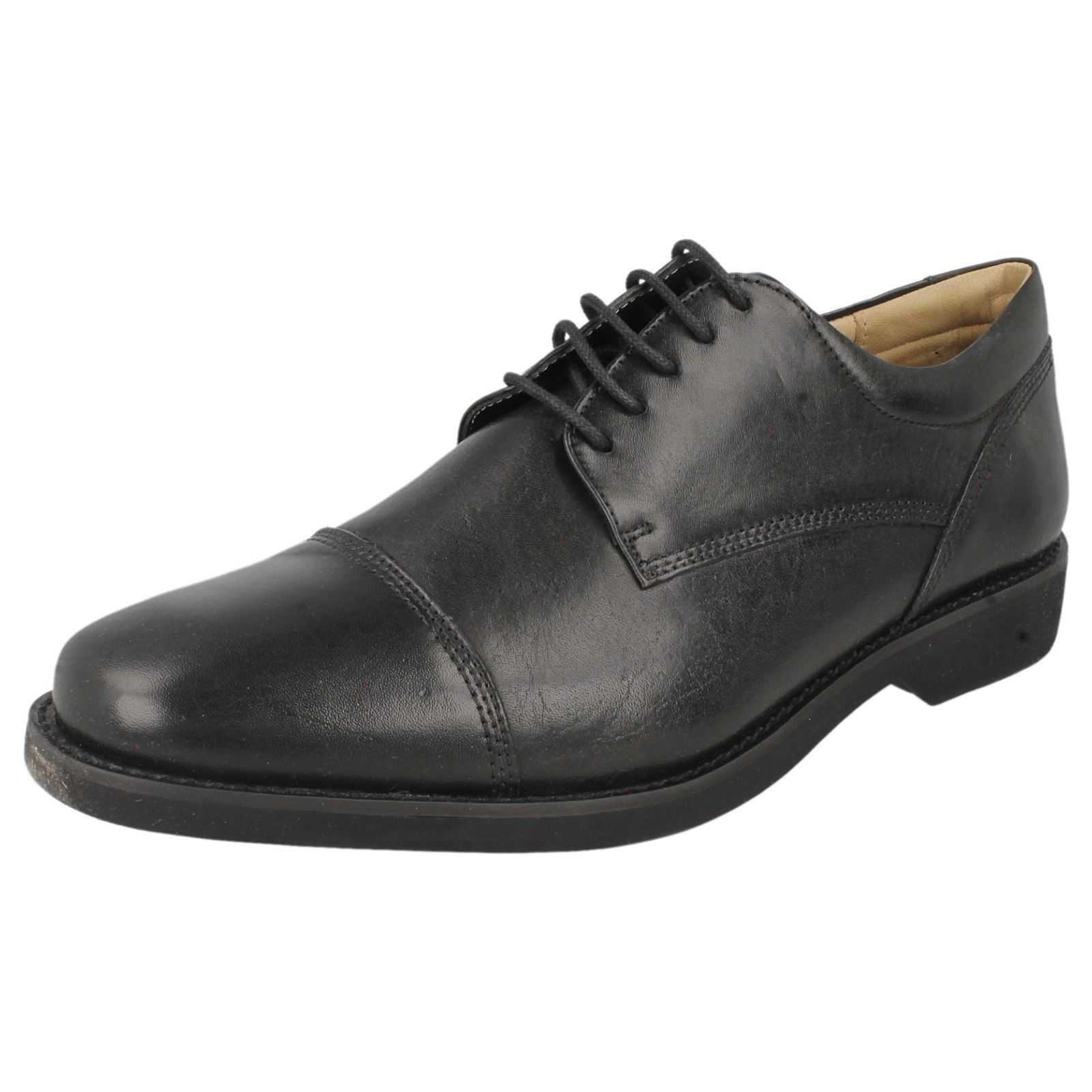 Mens Black Leather Lace Up Gel Sole Anatomic & Co Formal Shoes Abatia