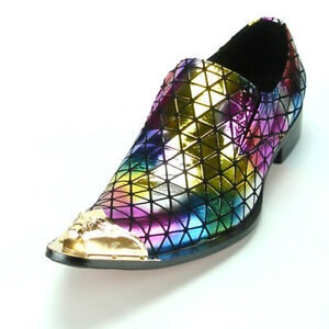 Shoes FI-7077 Multi Color Leather Metal Tip