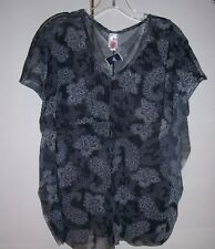 NWT SWEET PEA Sheer Black Gray Mesh Paisley Tunic Top Butterfly Sides One Size