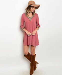 Ces-Femme-USA-Boho-Cowgirl-Mauve-Embroidered-V-Neck-Ribbed-Western-Dress-M
