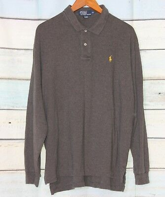 Polo Ralph Lauren Men's Long Sleeve Polo Shirt Gray Cotton Size Xl A Plastic Case Is Compartmentalized For Safe Storage Clothing, Shoes & Accessories