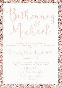 Personalised-Luxury-Wedding-Invitations-PINK-GLITTER-effect-packs-of-10