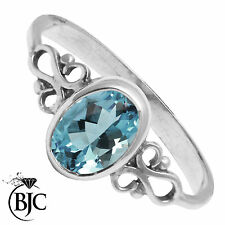 BJC® Beautiful 925 Sterling Silver Blue Topaz 1.00ct Oval Cut Dress Ring Size O