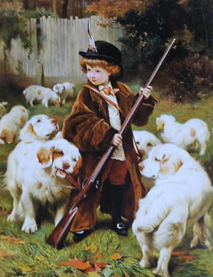 """""""The New Keeper"""" Boy Rifle and Dogs Charles Burton Barber vintage art"""
