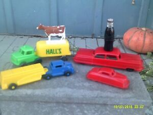 Lot-of-Vintage-Lido-amp-Wannatoys-Plastic-Car-amp-Truck-Toys-Mini-Coke-Bottle-Cow