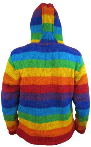 in lana Felpa lana a con con cappuccio nepalese felpa festival da di maglia in a hippy cappuccio righe lavorato ZnaZYrqUw