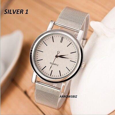 Unisex Men Women Luxury Stylish Casual Metal Mesh Band Wrist Watch Golden Silver
