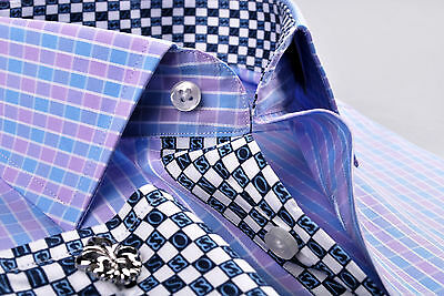 Blue /& Purple Mens Formal /& Business Dress Shirt Contrast Colored Checkered Cuff