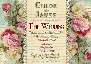 Image Is Loading Personalised Shabby Chic Vintage Tea Party Wedding Invitations