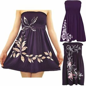 3d8ed89a793 New Womens Plus Size Purple Floral Leaves Sheering Strapless Boob ...