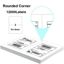 12000 Half Sheet 85x55 Shipping Labels Self Adhesive Rounded Corner Page Laser