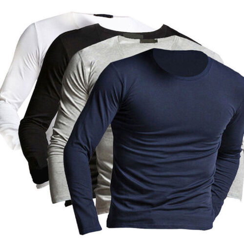 Fashion Men/'s Casual Slim Long Sleeve Crew-neck T-shirts Tee Shirt Top Pullover