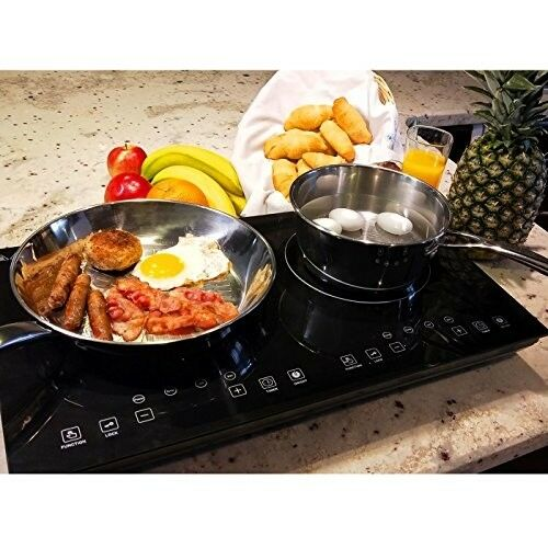 Evergreen Home 1800W Double Digital Induction Cooktop Portable Countertop